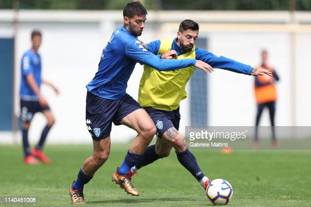 Marco Curto and Francesco Caputo of Empoli FC during training session on May 1 2019 in Empoli Italy