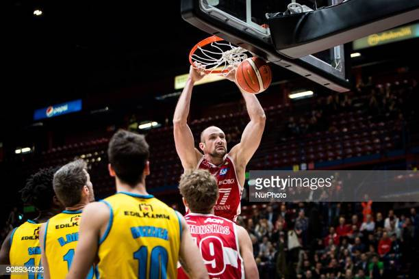 Marco Cusin make a slam dunk during a basketball game of Poste Mobile Lega Basket A between EA7 Emporio Armani Milano vs Vanoli Cremona at Mediolanum...