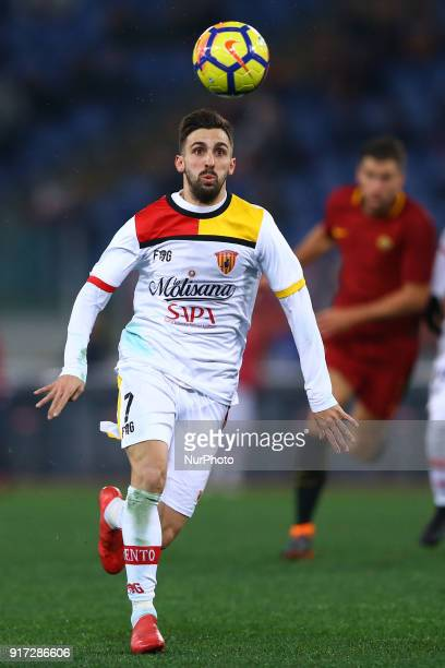 Marco DAlessandro of Benevento during the serie A match between AS Roma and Benevento Calcio at Stadio Olimpico on February 11 2018 in Rome Italy