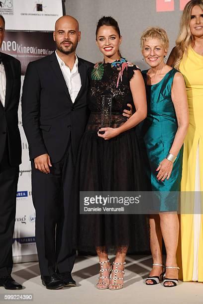 Marco D'Amore, Matilde Gioli, Gloria Satta and Tiziana Rocca attend the Kineo Diamanti Award Ceremony during the 73rd Venice Film Festival on...
