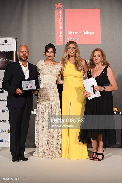 Marco D'Amore receives the 'Excellence' Award from Rocio Munoz Morales with Tiziana Rocca and Rosetta Sannelli at the Kineo Diamanti Award Ceremony...