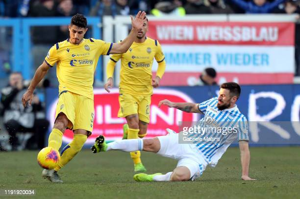 Marco Davide Faroni of Spal battles for the ball with Nenad Tomovic of Hellas Verona during the Serie A match between SPAL and Hellas Verona at...
