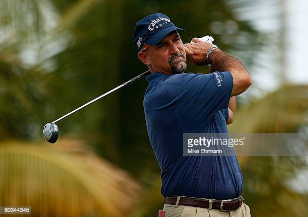 Marco Dawson hits his tee shot on the 10th hole during the third round of the Puerto Rico Open presented by Banco Popular held on March 22 2008 at...