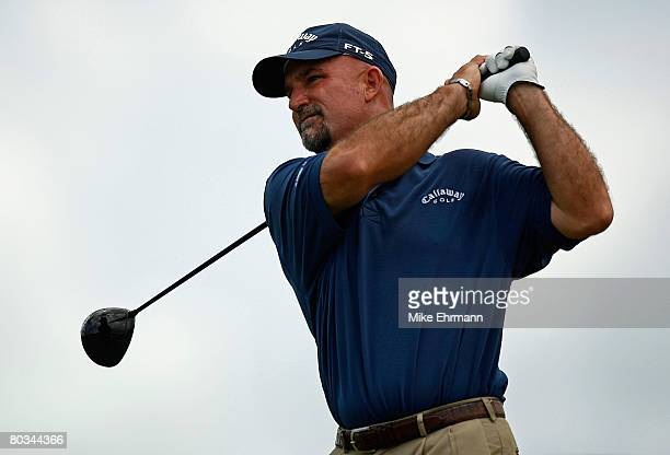 Marco Dawson hits his tee shot on the 11th hole during the third round of the Puerto Rico Open presented by Banco Popular held on March 22 2008 at...