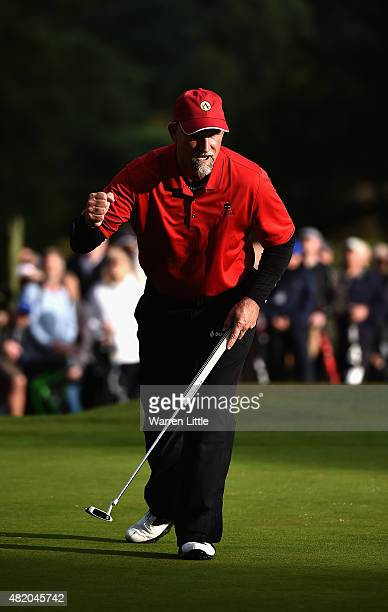 Marco Dawson of the USA celebrates winning The Senior Open Championship on the Old Course at Sunningdale Golf Club on July 26 2015 in Sunningdale...
