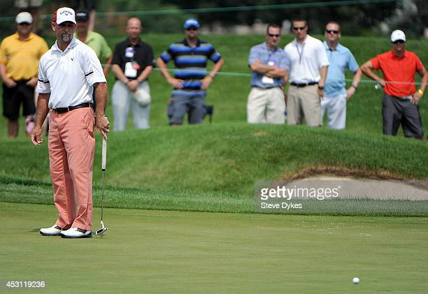 Marco Dawson watches as his eagle put on the sixth hole during the final round of the 3M Championship at TPC Twin Cities on August 3 2014 in Blaine...