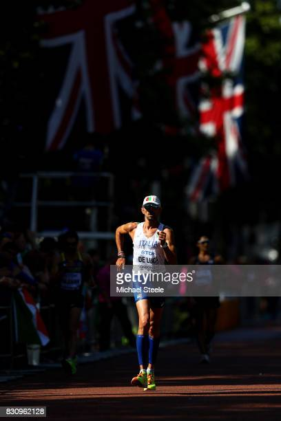 Marco De Luca of Italy competes in the Men's 50km Race Walk final during day ten of the 16th IAAF World Athletics Championships London 2017 at The...