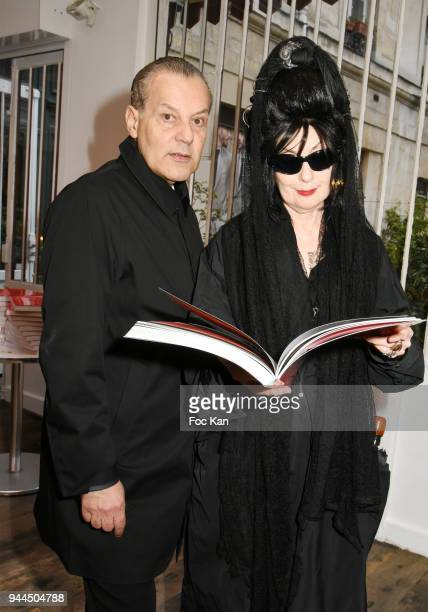 Marco de Rivera and Diane Pernet attend the 'Bel RP' 10th Anniversary at Atelier Sevigne on April 10 2018 in Paris France
