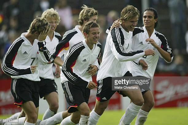 Marco Dej David Vrzogic Alexander Neumann and Danny Latza after the 21 goal for germany during the men's under 17 Four Nations Tournament match...