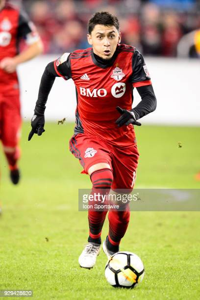 Marco Delgado of Toronto FC runs after the ball during the CONCACAF Champions League Quarterfinal match between Toronto FC and Tigres UANL on March 7...
