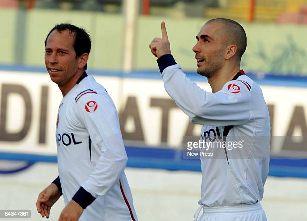 Marco Di Vaio and Martins Adailton of Bologna in action during the Serie A match between Catania and Bologna at the Stadio Massimino on January 18...