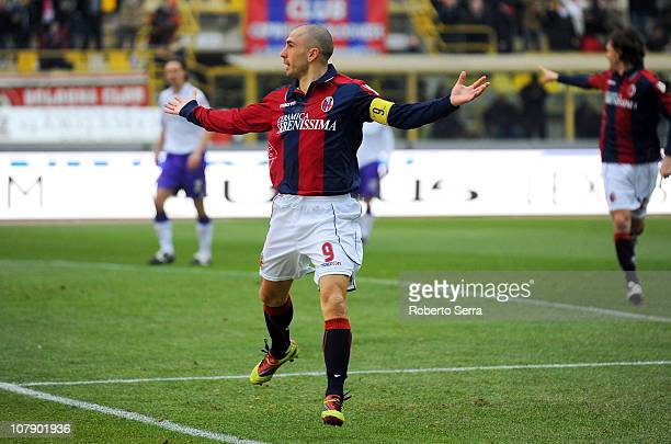 Marco Di Vaio captain of Bologna celebrates after scoring the opening goal of the Serie A match between Bologna and Fiorentina at Stadio Renato...