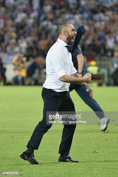 Marco Di Vaio forme player and Team Manager of Bologna FC celebrates at the end of the Serie B playoff final match between Bologna FC and Pescara...