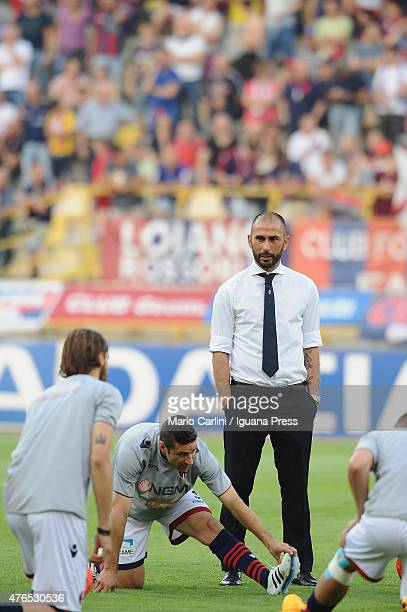Marco Di Vaio forme player and Team Manager of Bologna FC looks on during the warm up before the beginiing of the Serie B playoff final match between...