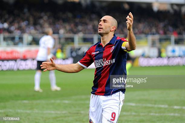 Marco Di Vaio of Bologna celebrates after scoring the opening goal during the Serie A match between Cesena and Bologna at Dino Manuzzi Stadium on...