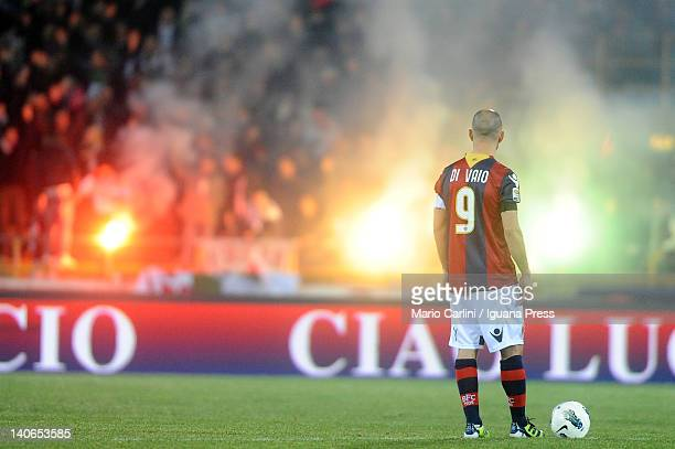 Marco Di Vaio of Bologna FC looks on before the beginning of the Serie A match between Bologna FC and Novara Calcio at Stadio Renato Dall'Ara on...