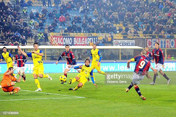 Marco Di Vaio of Bologna FC scores his team's second goal in injury time during the Serie A match between Bologna FC and AC Chievo Verona at Stadio...