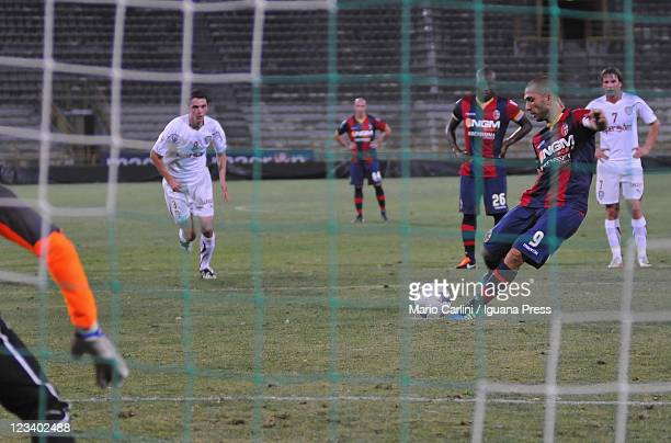 Marco Di Vaio of Bologna FC scores the opening goal from the penalty spot during the Pre Season Friendly match between Bologna FC and FC Rapid...