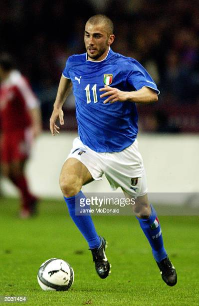 Marco Di Vaio of Italy runs with the ball during the International Friendly match between Switzerland and Italy held on April 30, 2003 at the Stade...