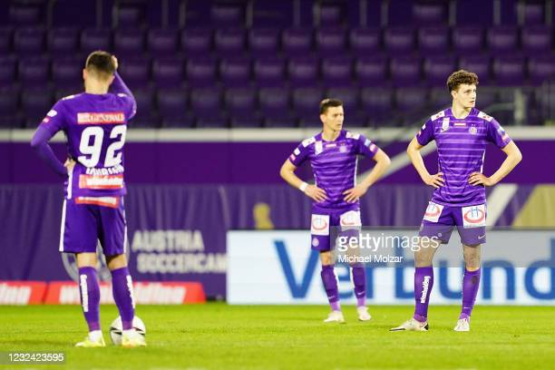 Marco Djuricin of Austria Wien, Stephan Zwierschitz of Austria Wien and Eric Martel of Austria Wien are disappointed during the tipico Bundesliga...
