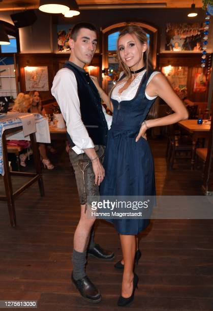 """Marco Eckl and Miriam Stefania during the event """"Eine Tracht Prügel"""" hosted by Hugo Bachmaier during the Koa Wiesn at Bachmaier Hofbräu on September..."""