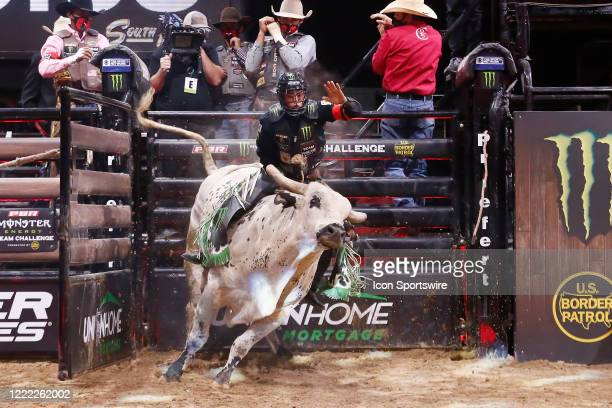 Marco Eguchi rides bull Marquis Metal Works Bill the Butcher during the Monster Energy Team Challenge on June 19 at the South Point Arena Las Vegas NV