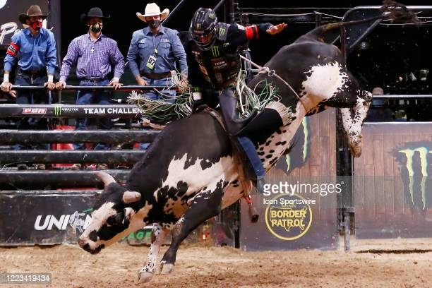 Marco Eguchi rides bull Marquis Metal Works Draggin Up during the Monster Energy Team Challenge on June 27 at the South Point Arena Las Vegas NV