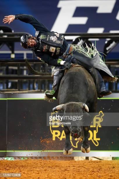 Marco Eguchi rides bull War Fury during the PBR World Finals, on November 15th at the AT&T Stadium, Arlington, TX.