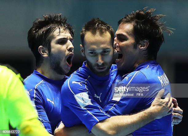 Marco Ercolessi of Italy celebrates scoring his team's second goal during the FIFA Futsal World Cup Round of 16 match between Italy and Egypt at the...