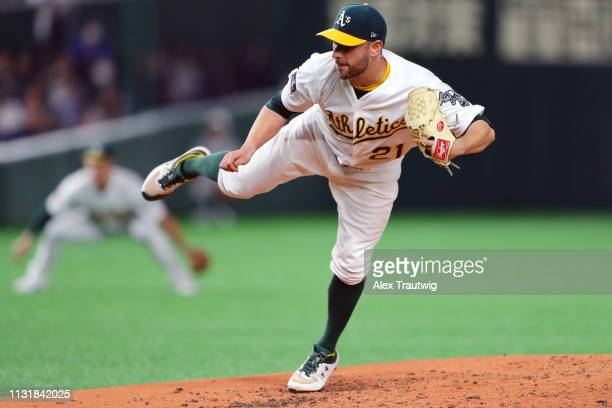 Marco Estrada of he Oakland Athletics pitches during the game between the Seattle Mariners and the Oakland Athletics during the 2019 Opening Series...