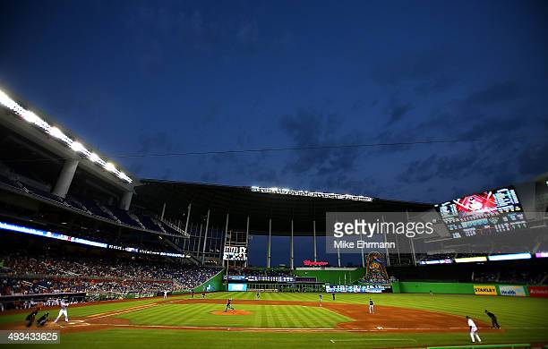 Marco Estrada of the Milwaukee Brewers pitches during a game against the Miami Marlins at Marlins Park on May 23 2014 in Miami Florida