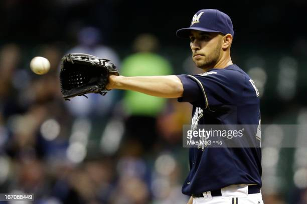 Marco Estrada of the Milwaukee Brewers pitches during the first inning against the Chicago Cubs at Miller Park on April 19 2013 in Milwaukee Wisconsin
