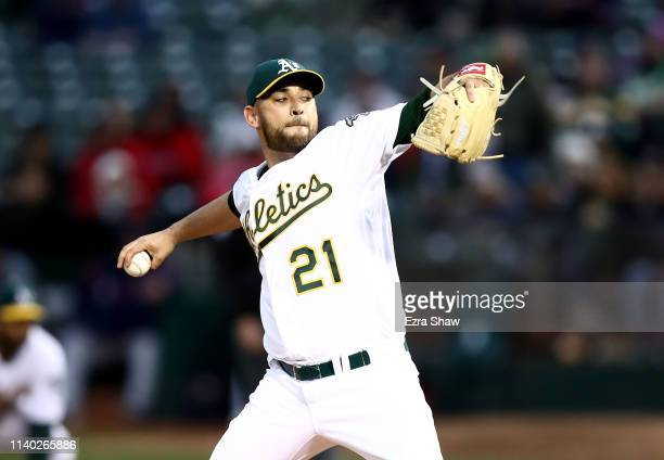 Marco Estrada of the Oakland Athletics pitches against the Boston Red Sox in the first inning at Oakland-Alameda County Coliseum on April 03, 2019 in...