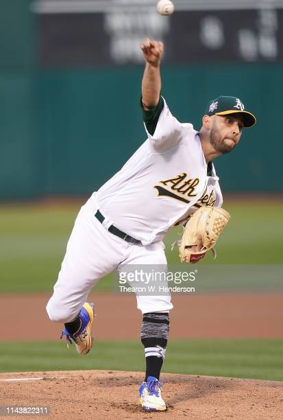 Marco Estrada of the Oakland Athletics pitches against the Houston Astros in the top of the first inning of a Major League Baseball game at...