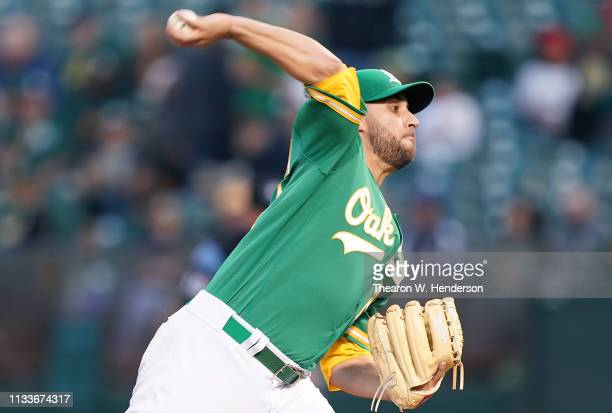 Marco Estrada of the Oakland Athletics pitches against the Los Angeles Angels of Anahiem in the top of the first inning of a Major League Baseball...