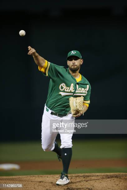 Marco Estrada of the Oakland Athletics pitches during the game against the Los Angeles Angels of Anaheim at the Oakland Alameda Coliseum on March 29,...