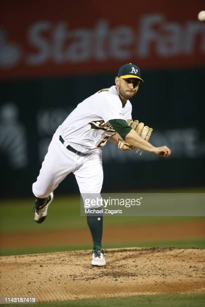 Marco Estrada of the Oakland Athletics pitches during the game against the Boston Red Sox at the Oakland-Alameda County Coliseum on April 3, 2019 in...