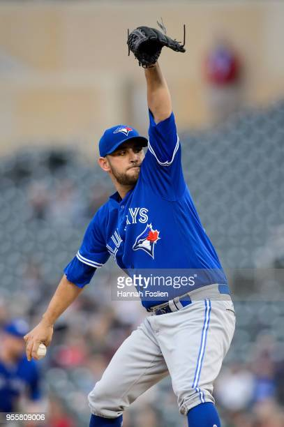 Marco Estrada of the Toronto Blue Jays delivers a pitch against the Minnesota Twins during the game on May 1, 2018 at Target Field in Minneapolis,...
