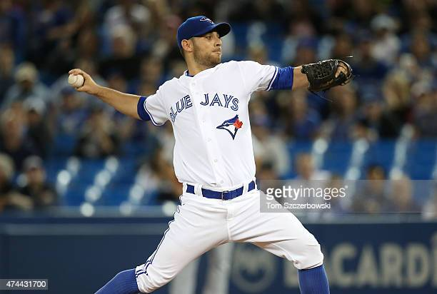 Marco Estrada of the Toronto Blue Jays delivers a pitch in the first inning during MLB game action against the Seattle Mariners on May 22, 2015 at...