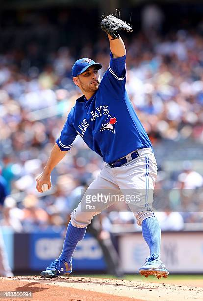 Marco Estrada of the Toronto Blue Jays delivers a pitch in the first inning against the New York Yankees on August 9, 2015 at Yankee Stadium in the...