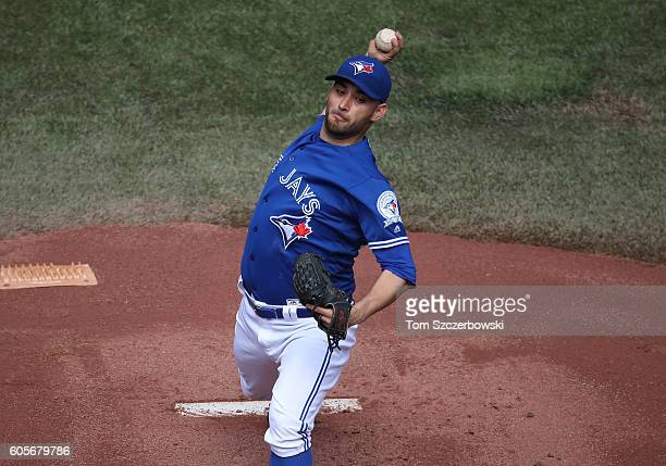 Marco Estrada of the Toronto Blue Jays delivers a pitch in the first inning during MLB game action against the Tampa Bay Rays on September 14 2016 at...