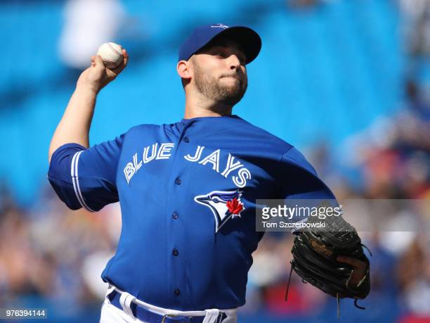 Marco Estrada of the Toronto Blue Jays delivers a pitch in the first inning during MLB game action against the Washington Nationals at Rogers Centre...