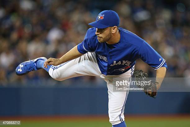 Marco Estrada of the Toronto Blue Jays delivers a pitch in the fourth inning during MLB game action against the Atlanta Braves on April 19 2015 at...