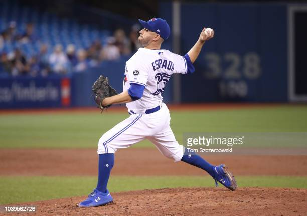 Marco Estrada of the Toronto Blue Jays delivers a pitch in the third inning during MLB game action against the Houston Astros at Rogers Centre on...