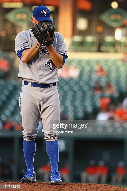 Marco Estrada of the Toronto Blue Jays pitches against the Baltimore Orioles during the first inning at Oriole Park at Camden Yards on May 11 2015 in...