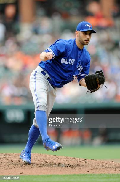 Marco Estrada of the Toronto Blue Jays pitches against the Baltimore Orioles at Oriole Park at Camden Yards on May 21, 2017 in Baltimore, Maryland.
