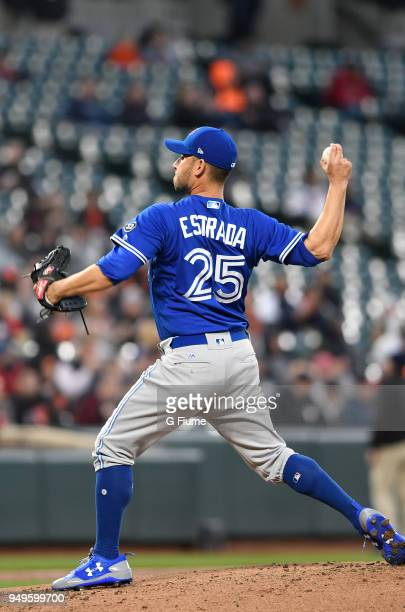 Marco Estrada of the Toronto Blue Jays pitches against the Baltimore Orioles at Oriole Park at Camden Yards on April 11 2018 in Baltimore Maryland