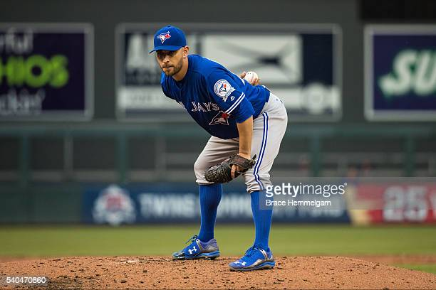 Marco Estrada of the Toronto Blue Jays pitches against the Minnesota Twins on May 19 2016 at Target Field in Minneapolis Minnesota The Blue Jays...