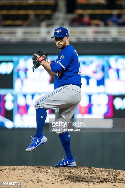 Marco Estrada of the Toronto Blue Jays pitches against the Minnesota Twins on May 1, 2018 at Target Field in Minneapolis, Minnesota. The Blue Jays...