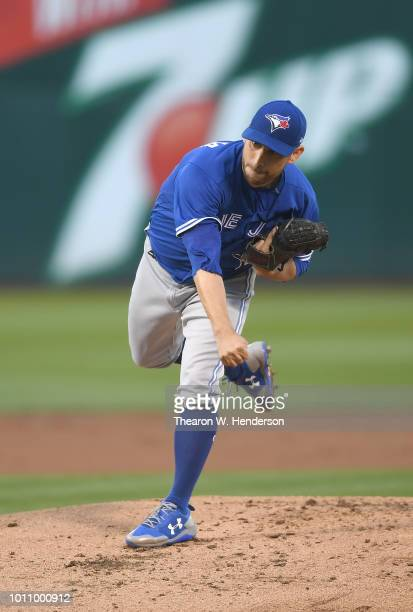 Marco Estrada of the Toronto Blue Jays pitches against the Oakland Athletics in the bottom of the first inning at Oakland Alameda Coliseum on July...